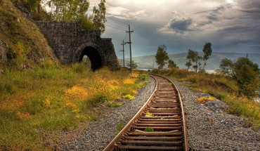 Landscapes nature grass railroad tracks railway columns arch HD wallpaper