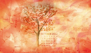 Paintings trees leaves calendar october watercolor smashing magazine HD wallpaper