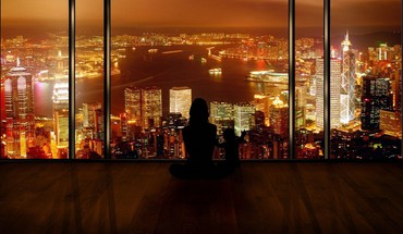 Cityscapes night photo manipulation silhouettes window HD wallpaper