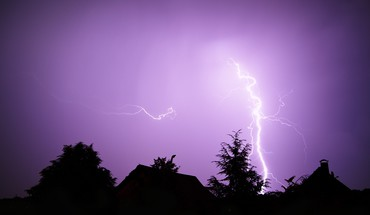 Landscapes nature night storm purple silhouettes lightning HD wallpaper