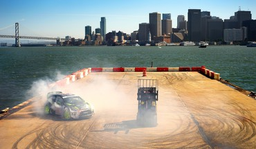 Ford fiesta wrc ken block bridges buildings cityscapes HD wallpaper