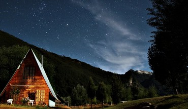 Houses brown nocturnal patagonia starry night skies HD wallpaper