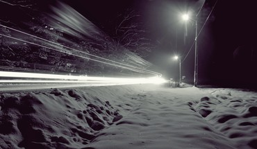 Snow night lights wind winter roads HD wallpaper