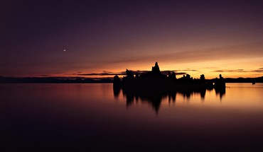 California mono lake lakes rocks silhouettes HD wallpaper
