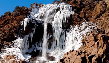 Ice mountains nature frozen rocks waterfalls HD wallpaper