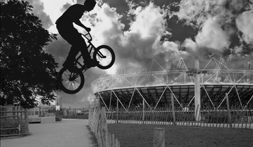 Bicycles monochrome stadium HD wallpaper
