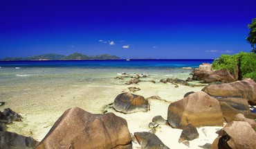 Nature beach rocks seychelles HD wallpaper