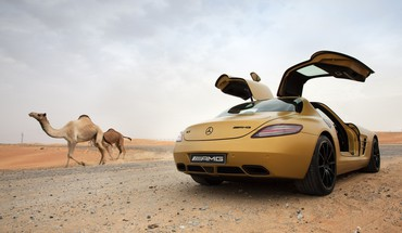 Mercedes sls amg in desert HD wallpaper