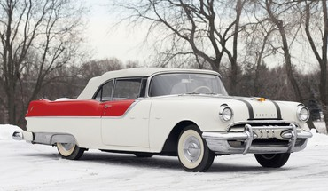 Winter snow trees classic pontiac cars roads retro HD wallpaper