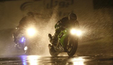 Dark motorcycles night rain HD wallpaper
