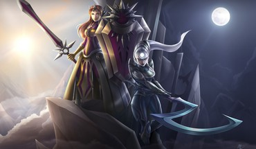 Sun Moon League of Legends luna Leona diana  HD wallpaper