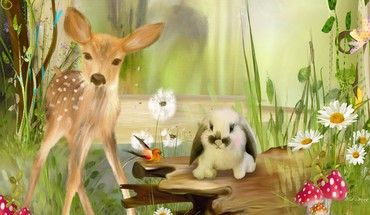 Sweet fawn and spring bunny HD wallpaper