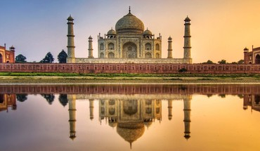 Water sunset nature taj mahal HD wallpaper