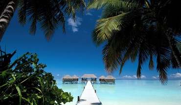 Maldives beach house palm trees paradise tropical HD wallpaper