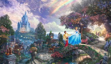 Cinderella disney castle thomas kinkade digital art prince HD wallpaper