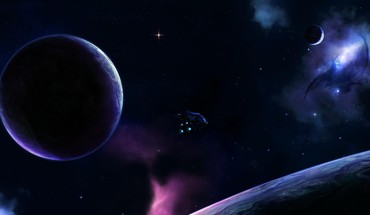 Purple universe and planet HD wallpaper
