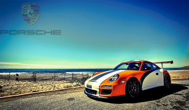 "Beach ""Porsche"" automobilių  HD wallpaper"