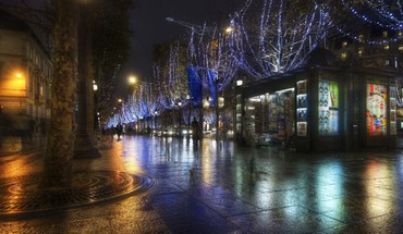Night in the streets of paris hdr HD wallpaper