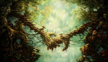 Dogs rocks bridges fantasy art holes artwork HD wallpaper