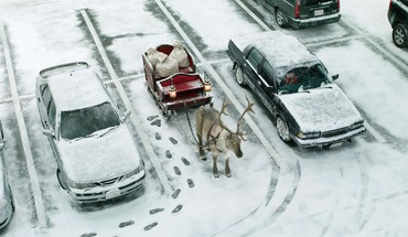 Winter snow cars christmas reindeer HD wallpaper