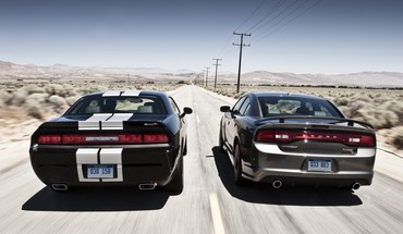 Two dodge car belonging on the road HD wallpaper