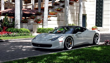 Ferrari 458 italia cars grass houses HD wallpaper