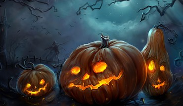 Horror lights happy halloween pumpkins colors HD wallpaper