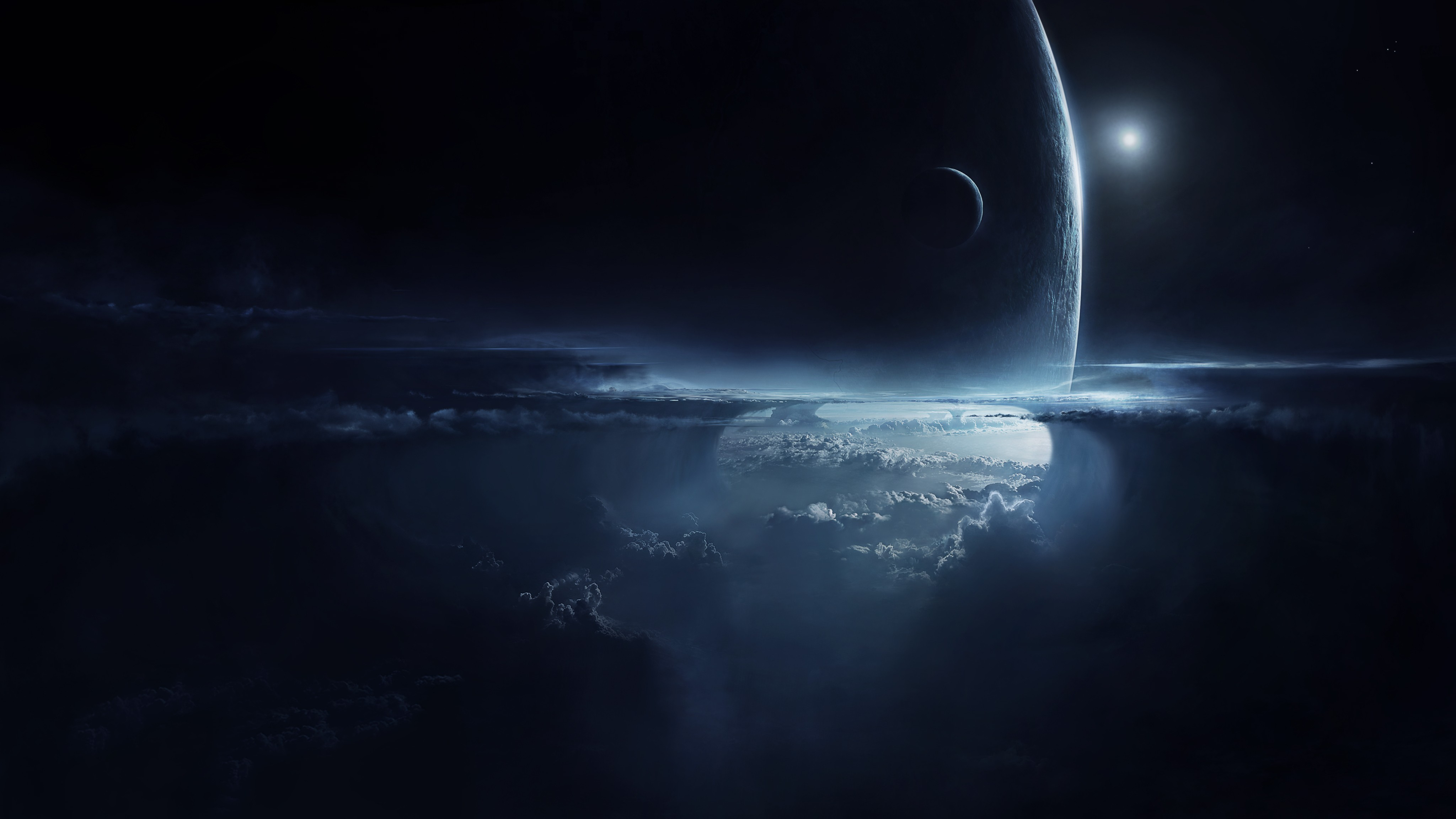 Space Dark Stars Planets Artwork Cloud Skies Wallpaper