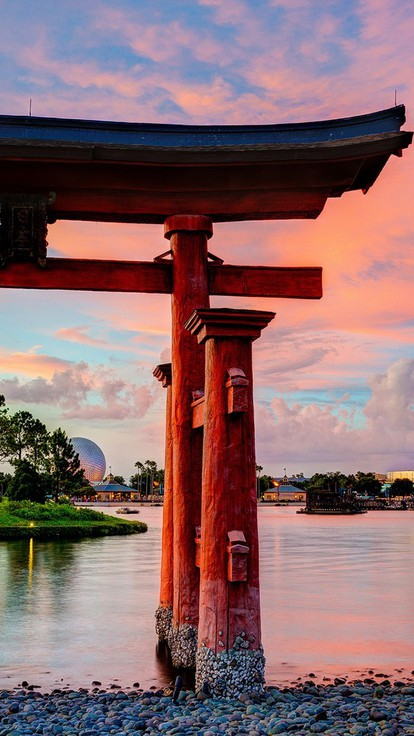 Epcot disneyland torii lakes culture japanese architecture ...
