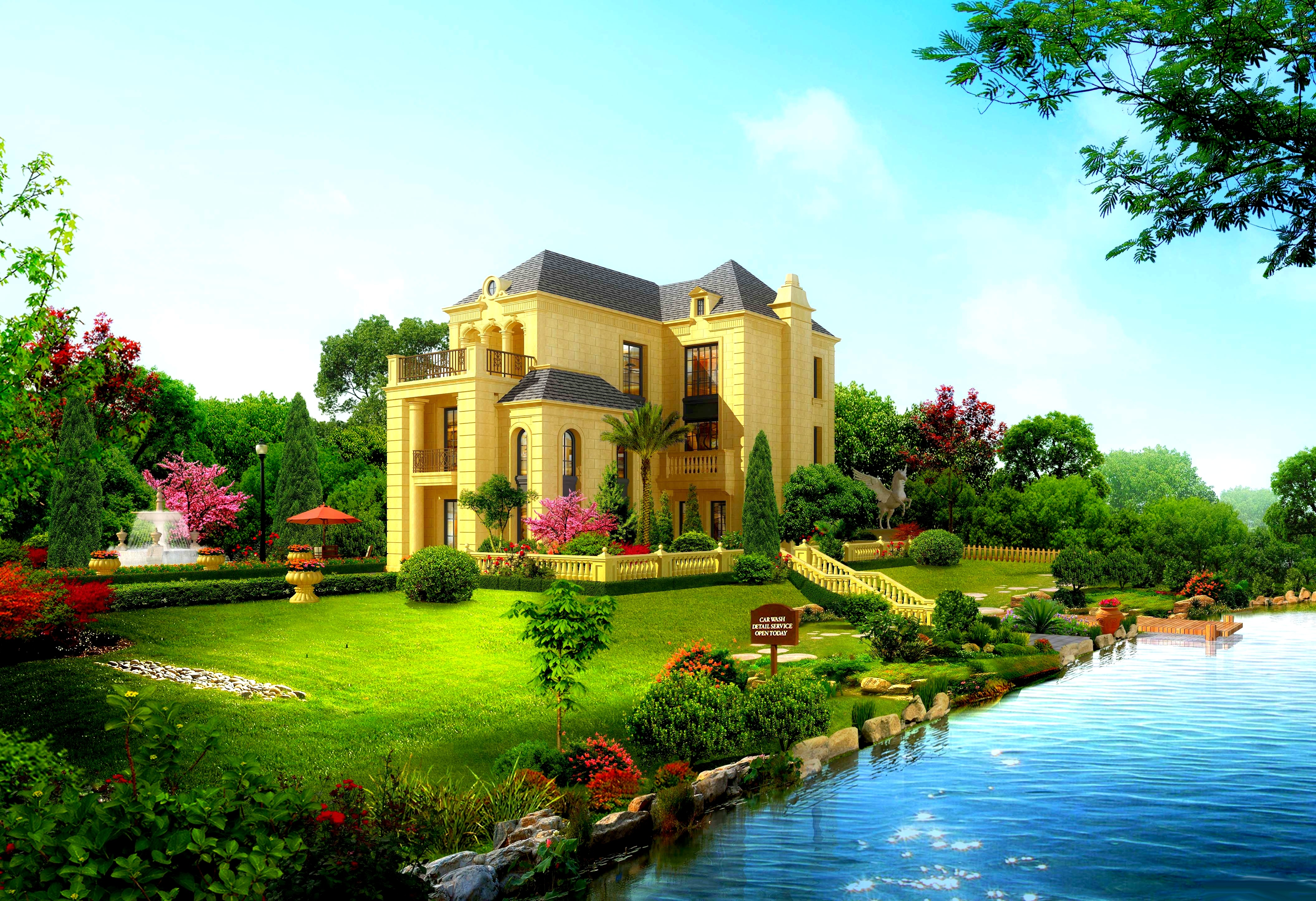 Beautiful house wallpaper 10490 pc en for Wallpaper with houses on it