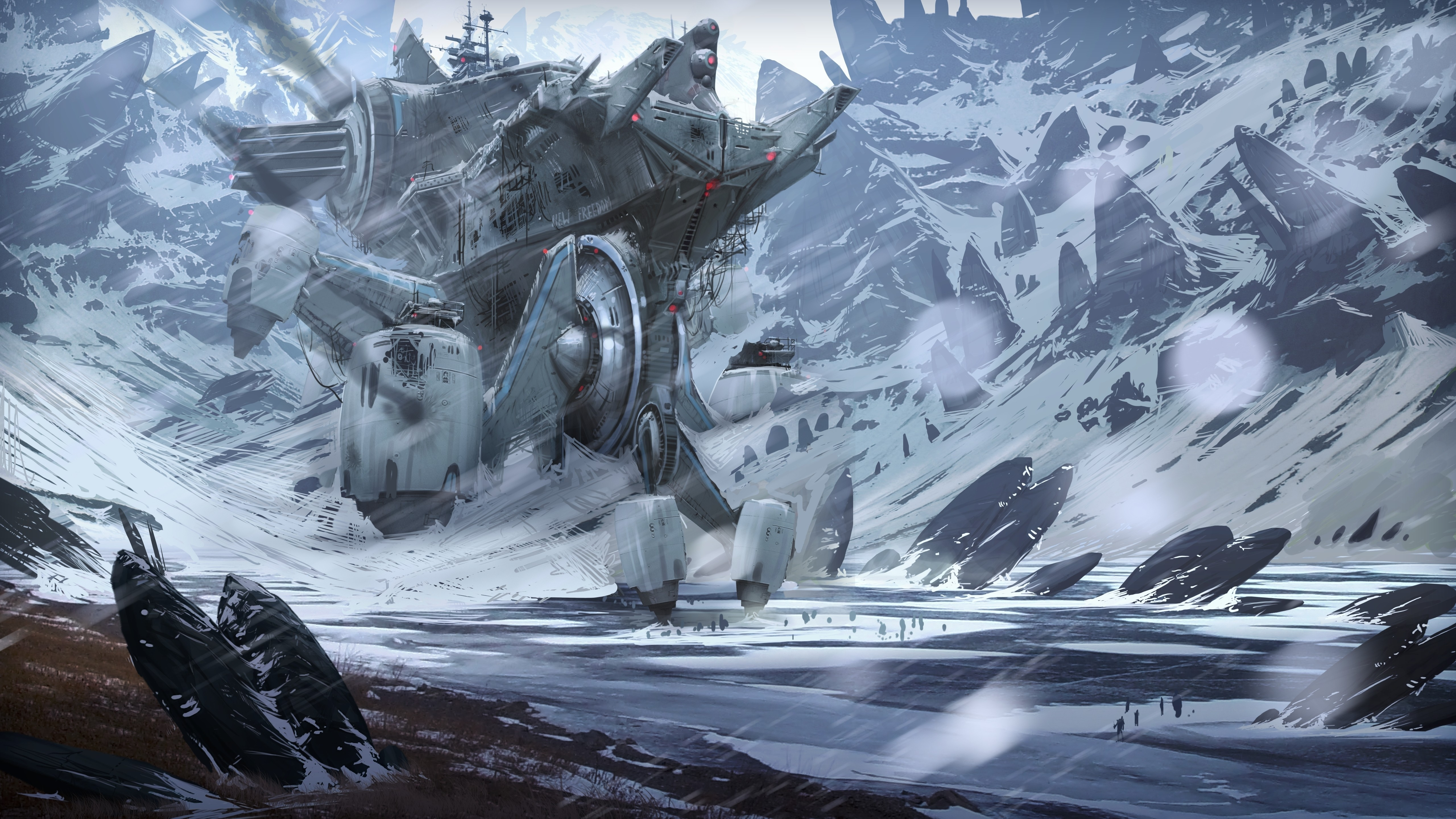 Must see Wallpaper Mountain Sci Fi - mountains-snow-futuristic-fantasy-art-artwork-5120x2880-wallpaper  Pictures_433463.jpg