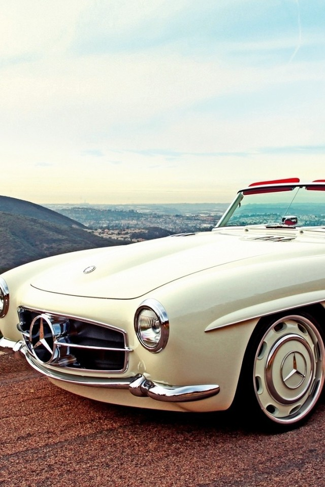 Landscapes Cars Roads White Classic Mercedes Benz