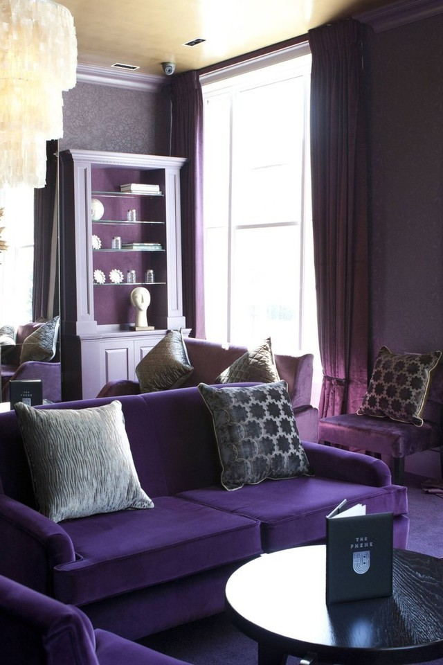 Interior design living room purple wallpaper for Purple living room wallpaper