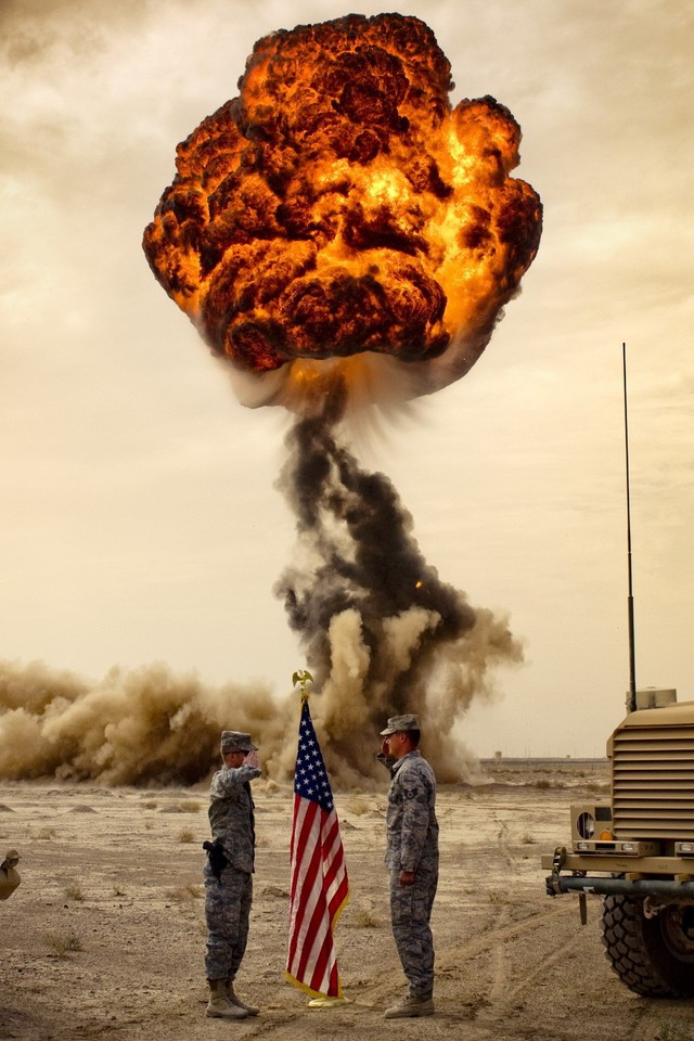 Us Army Explosions Flags Wallpaper