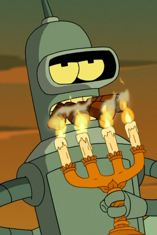 futurama bender smoking cigars candles four wallpaper