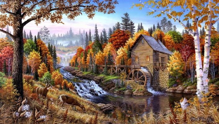 Artwork forests home oil painting paintings wallpaper