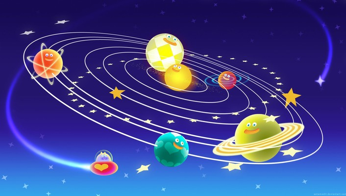 Funny space planets wallpaper