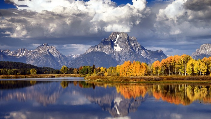 Autumn forests lakes landscapes mountains wallpaper