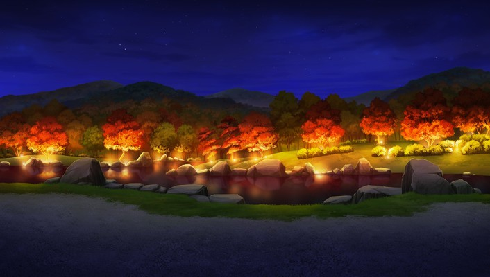 No canvas forests game cg lakes lights wallpaper