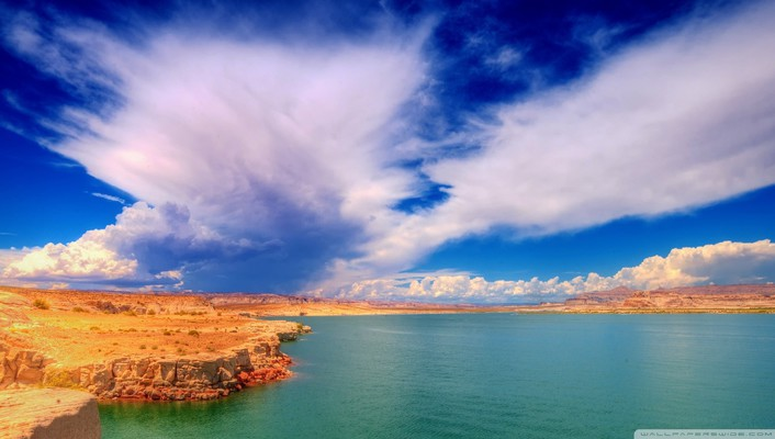 Wild skies over canyon lake wallpaper