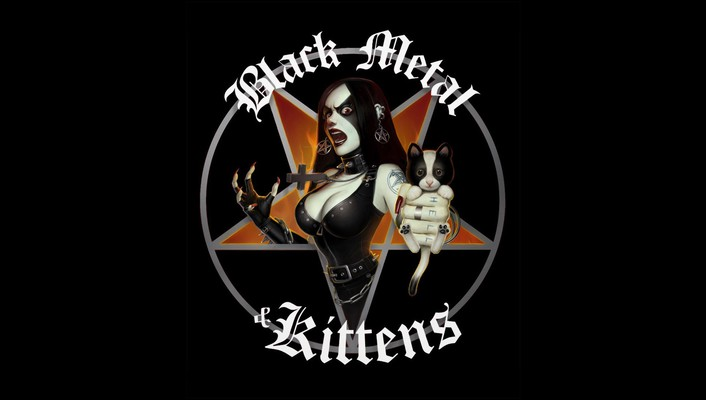 Black metal kittens wallpaper