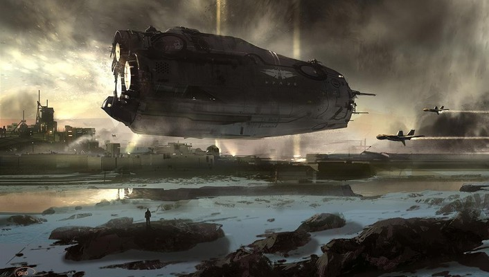 Landscapes futuristic spaceships digital art science fiction artwork wallpaper