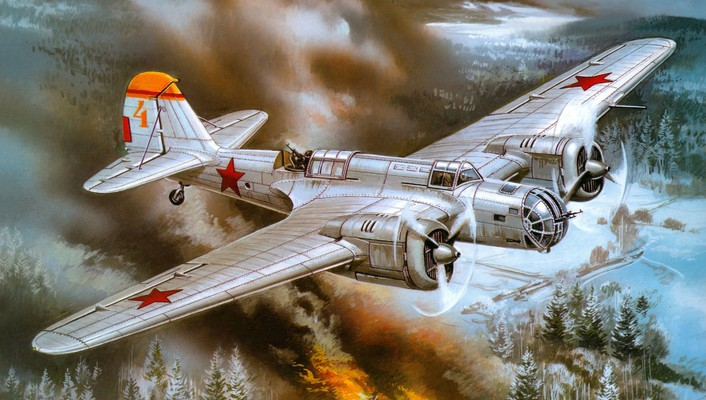 Aircraft war military bomber soviet world ii artwork wallpaper