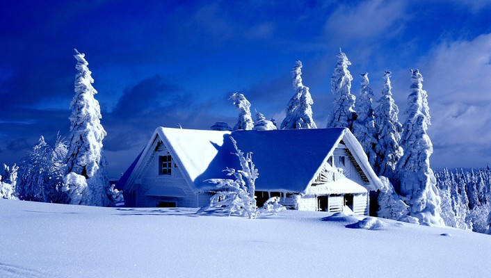 Paintings winter snow trees houses wallpaper