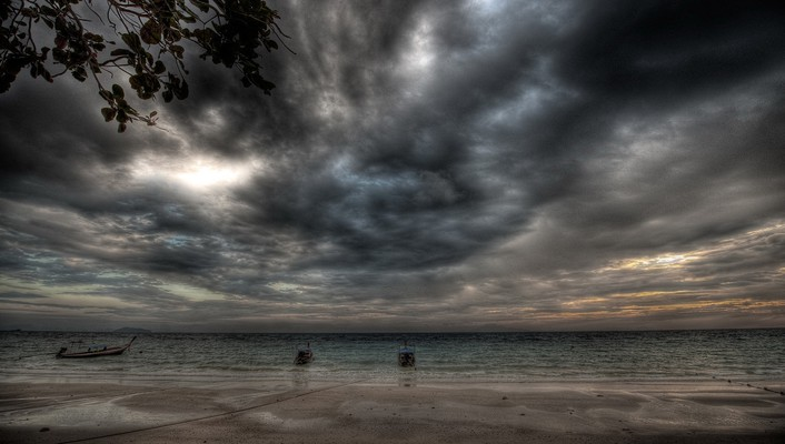 Hdr photography beaches clouds ocean sea wallpaper
