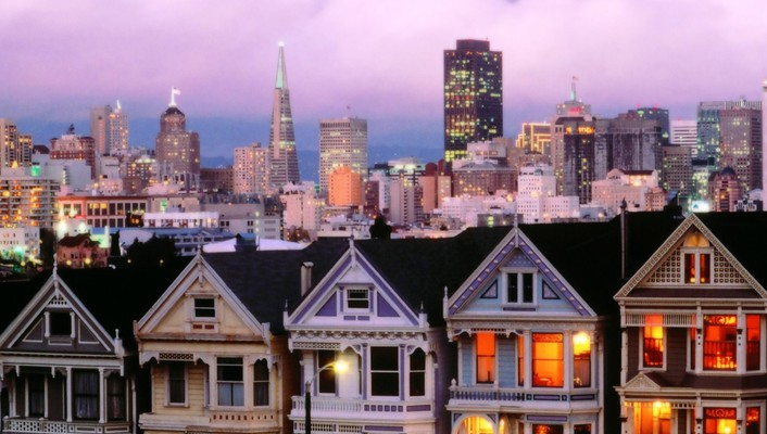 California san francisco cityscapes dusk wallpaper