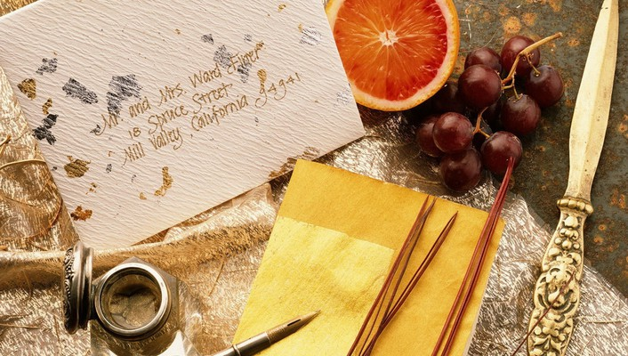 Grapes knives letter letters oranges wallpaper
