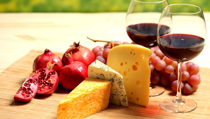 Wine cheese fruits wallpaper