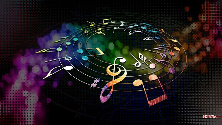 Colors dial multicolor music musical notes wallpaper