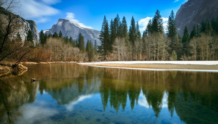 Yosemite national park clouds green half dome landscapes wallpaper